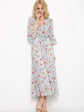 Floral Print V-Neck Flare Sleeve Maxi Dress