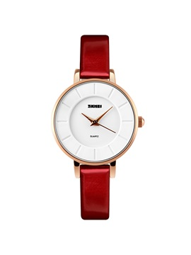 Simple Ultra Thin Design Red Women's Watch