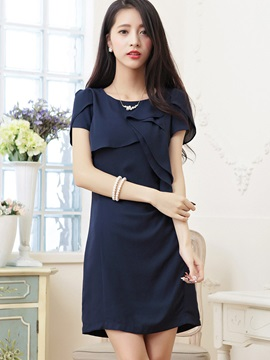 Pure Color Round Neck Short Day Dress