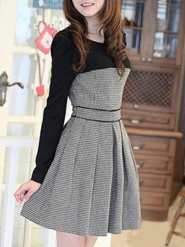 Lovely Korean Style Split Joint Sweater Dress