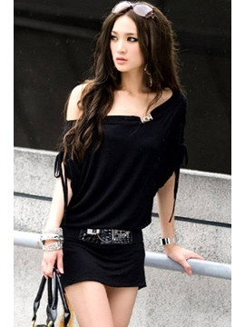 New Korean Style Boat Neck Bat Sleeve Column Dress