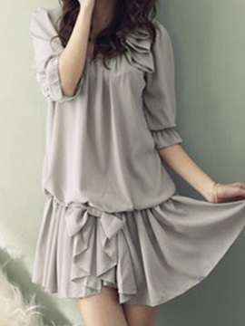 Summer Beautiful Middle Sleeves Khaki Chiffon Dress