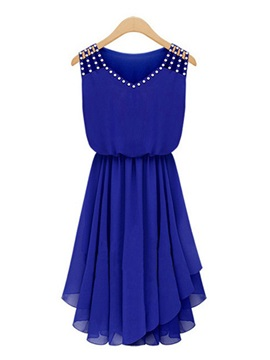 Gorgeous Rhinestone Shoulder Elastic Waist Chiffon Dress