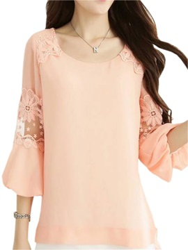 New Lace Stitching Lantern Sleeves Blouse
