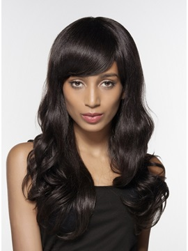 Mishair® Elegant Long Wavy Human Hair Capless Wig