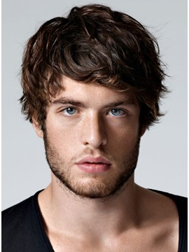Handsome Cozy Wavy Short Layered Synthetic Hair Men's Capless Wig 6 Inches