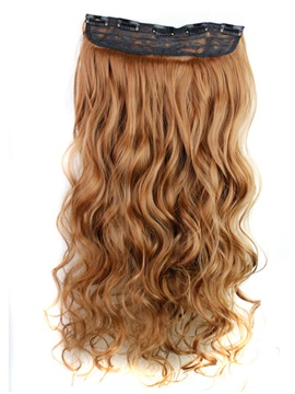 Brown Color Long Wave One Piece Synthetic Clip In Hair Extension 24 Inches