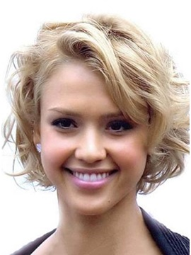 Celebrity Hairstyle Short Wavy Human Hair Lace Wig about 8Inches