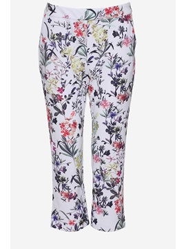 New White Flowers Print Soft Loose Pants