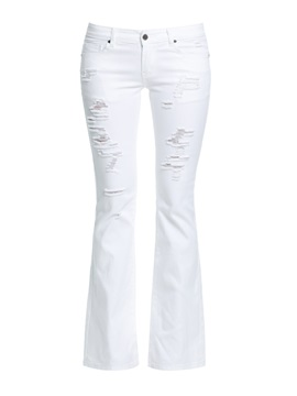 Elegant Cotton Denim Hole Designed Flare Jean