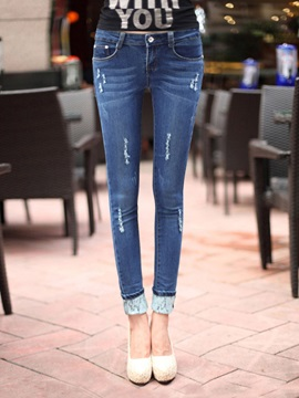 Simple Frayed Lace  Pencil Jean