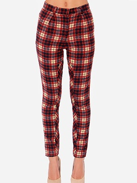 Simple Cotton Plaid Printing Pencil Pant