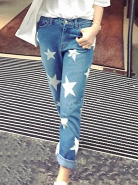 Chic Five-Pointed Star Printing Jean