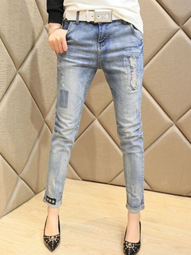 Elegant Frayed Pencil Jean