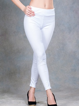 Simple White Ninth Length Leggings