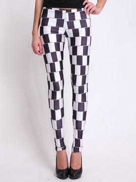 Slimming Polyester Plaid Designed Leggings