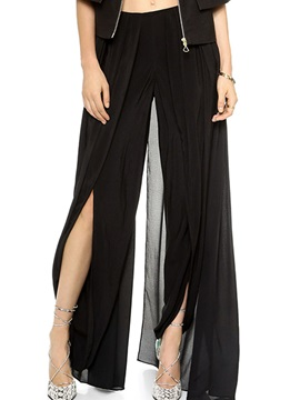 Delicate Pleated Slit-Front Women's Pant