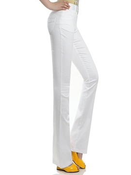 Solid Color Mid-Waist Flared Pant