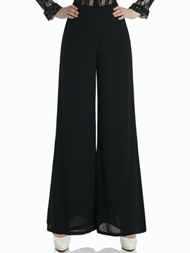 Pure Color Wide-Leg Skinny Pant