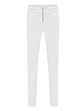 Simple Plain Zip-Front Skinny Pant