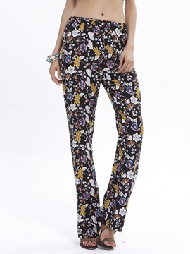 Stylish Flower Printing Loose-Fit Pant