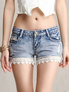 Chic Lace Trim Hole Designed Denim Short