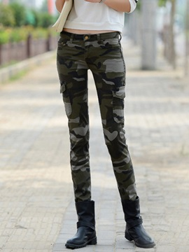Simple Pocket Designed Camo Printing Pant
