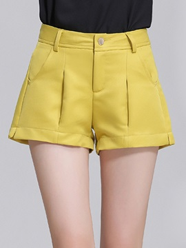 Simple Pleated Flanging Wide-Leg Short
