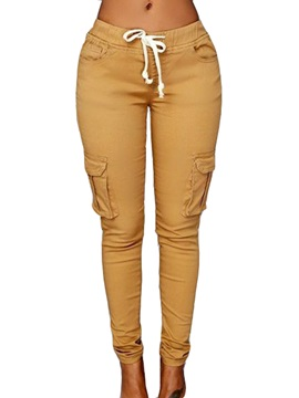 Simple Pocket Decorated Lace-Up Pencil Pant