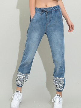 Simple Sequins Decorated Ruched-Hem Jean
