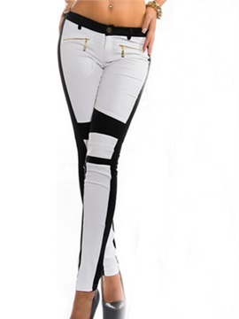Stylish Color Block Zipper Designed Pant