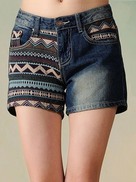 Colored Stripe Designed Patchwork Shorts