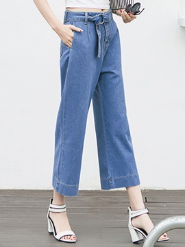 Vintage Wide-Leg Belt-Tied Jean