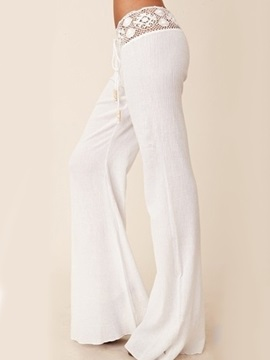 White Lace Patchwork Palazzo Beach Pants