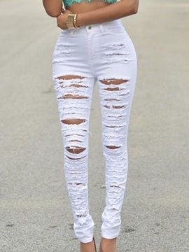 Solid Color Ripped Slim Jeans