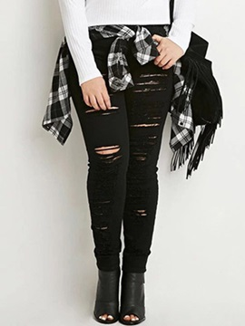 Black Ripped Women Boyfriend Jeans