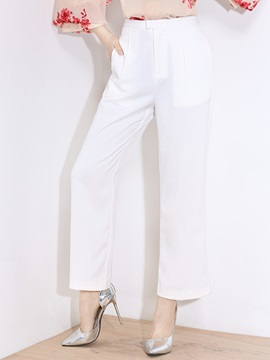 White Chiffon Work Pants