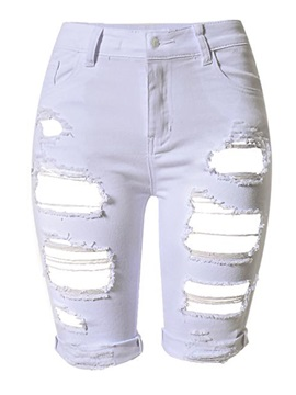 White Ripped Worn-Out Jeans Shorts
