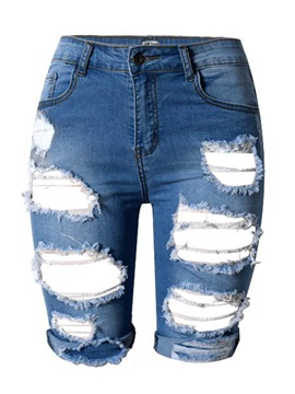 Worn-Out Ripped Denim Shorts