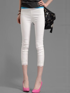 Lace  Slim Cropped Leggings