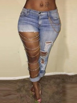 Denim Worn-Out Hollow Chain Decorated Jeans