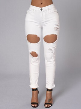 White Ripped Worn-Out Hollow Jeans