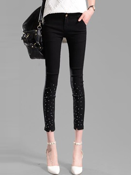 Bead Decorated Solid Color Slim Leggings
