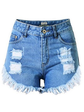 Zipped-Fly Denim Women Shorts