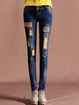 Worn-Out Floral Printing Jeans