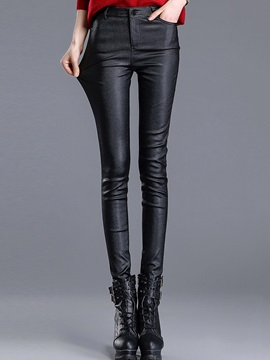 Slim Black Leather Leggings