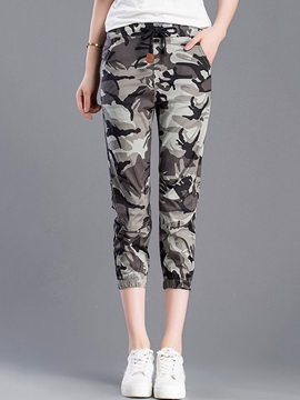 Camouflage Print Cropped Casual Pants
