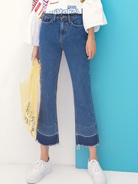 Rivet Patchwork Denim Wide Leg Jeans