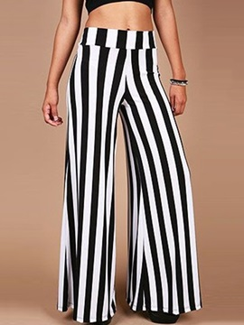 Black And White Striped Palazzo Pants