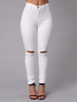 White Ripped Plus Size Pants